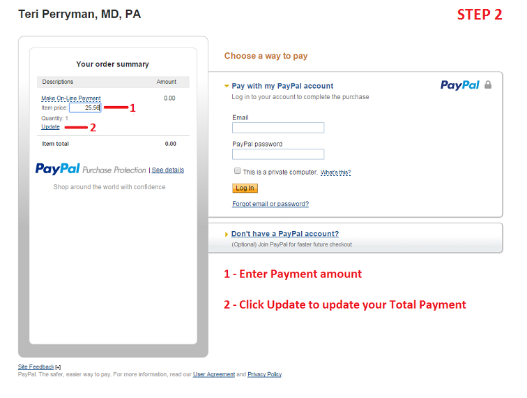 Enter the amount you wish to pay and then click